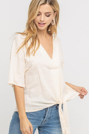 Tie front short sleeved tie knit top in peach