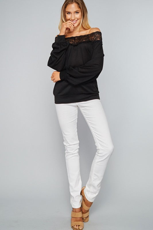 Black lace sweatshirt with updated sleeves