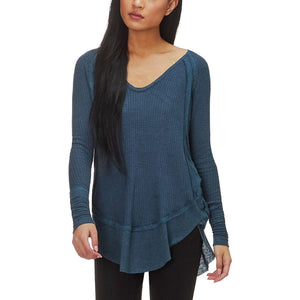 Freepeople henley top in secret lagoon heather blue