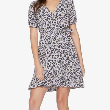 Wrap mini dress neutral spots