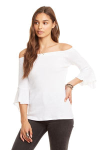Chaser peplum off the shoulder peplum tee in white