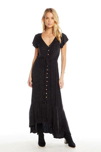 Chaser heirloom wovens flutter sleeve button down hi low maxi dress