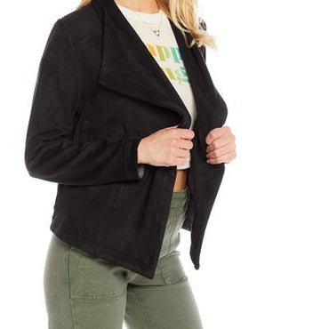 Chaser stretch faux suede long sleeve drape front jacket