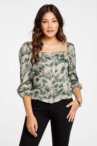 3/4 puff sleeve button down blouse