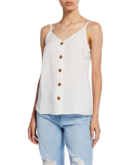 Whitney white tank with brown buttons