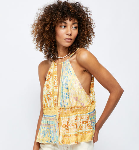 FP top in vibrant yellow print