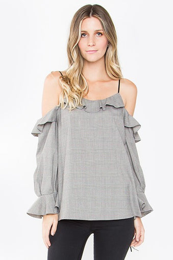 Jessie cold shoulder in warm grey print