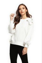Sarah white sweatshirt with lace detail