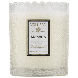 Scalloped Edge Embossed Glass Candle Mokara