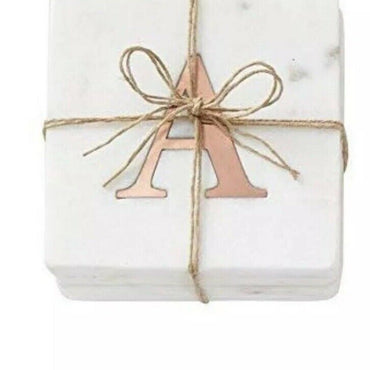 Classic modern marble coasters with copper initials