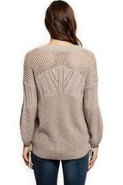Chrissy linen sweater with slight bell sleeves