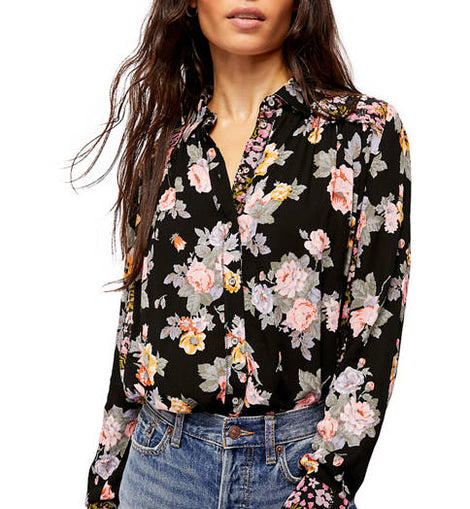 FP top in black floral