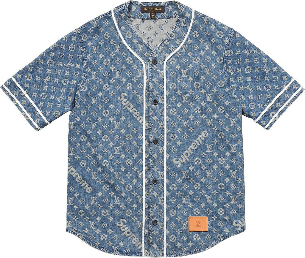 louis vuitton x supreme blue denim baseball jersey englishsole. Black Bedroom Furniture Sets. Home Design Ideas