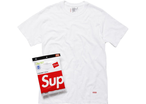 Supreme x Hanes - White Tagless Tees (3-Pack)