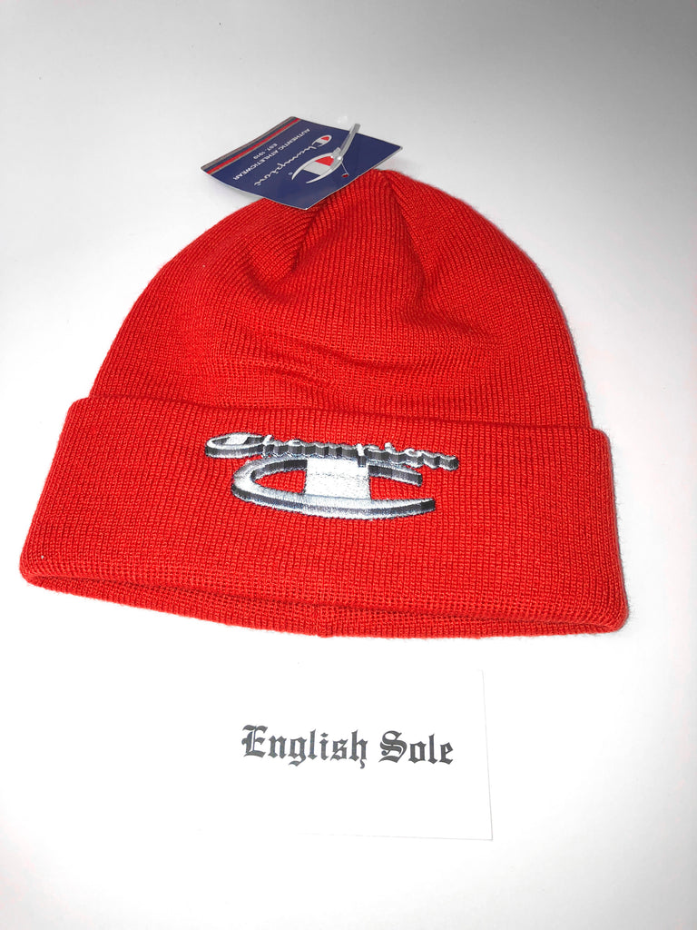 f0c4eb242c1a3 Supreme x Champion - 3D Metallic Beanie (Brick Red) Supreme x Champion - 3D  Metallic Beanie (Brick Red)