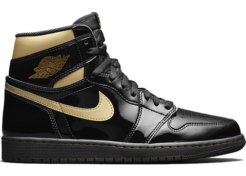 Jordan 1 Black Gold Patent Leather