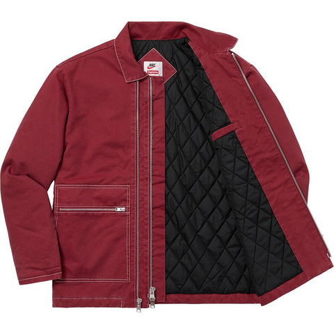 Supreme x Nike - Double Zip Quilted Work Jacket (Burgundy)