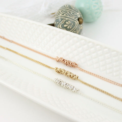 dianne rodger small bracelets in silver, gold, and rose gold fill