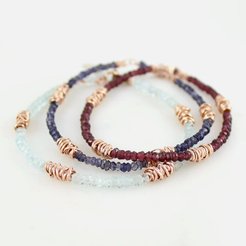 Rose Gold Gemstone and Twist Stacking Bracelet