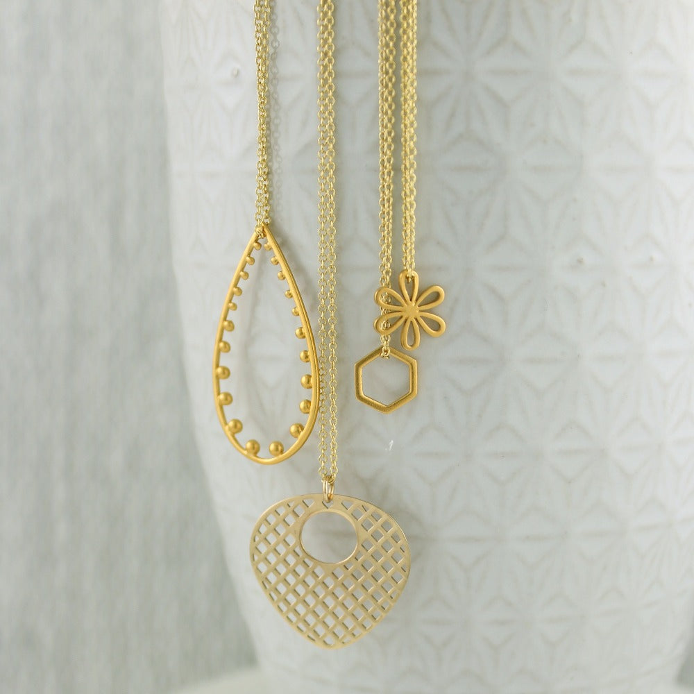 gold fill necklaces with fun geometric pendants