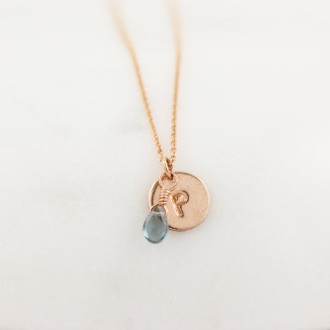 Rose gold fill Birthstone and Monogram Necklace