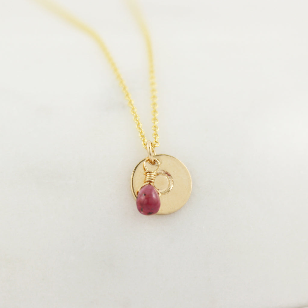 Yellow gold fill Birthstone and Monogram Necklace