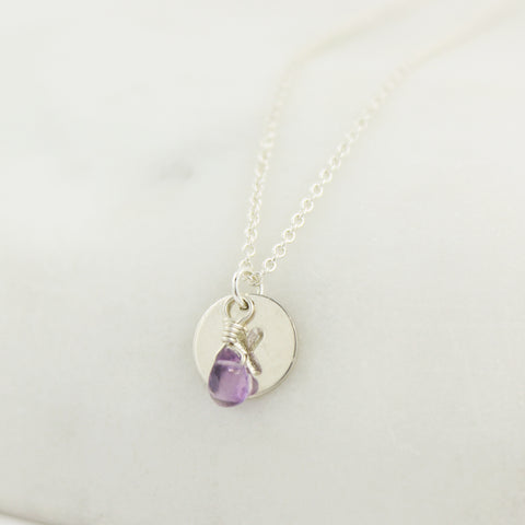 Silver Birthstone and Monogram Necklace