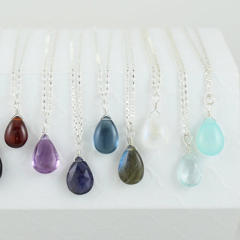 Silver Gemstone Solo Necklace
