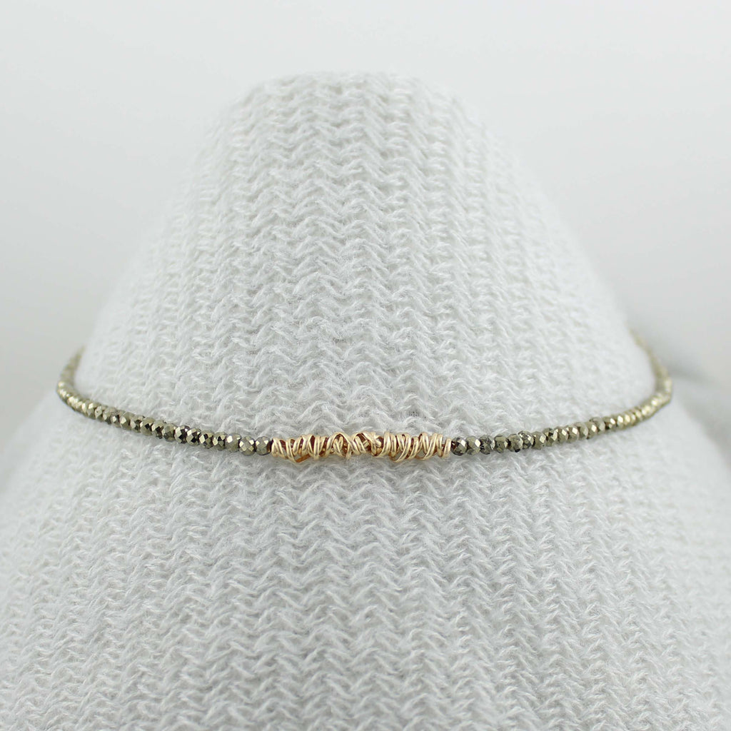 Fusion Necklace - Gemstone with Yellow gold fill Twist (LC)