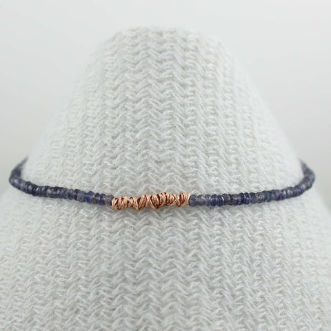 Fusion Necklace -Gemstone with Rose gold fill Twist (LC)
