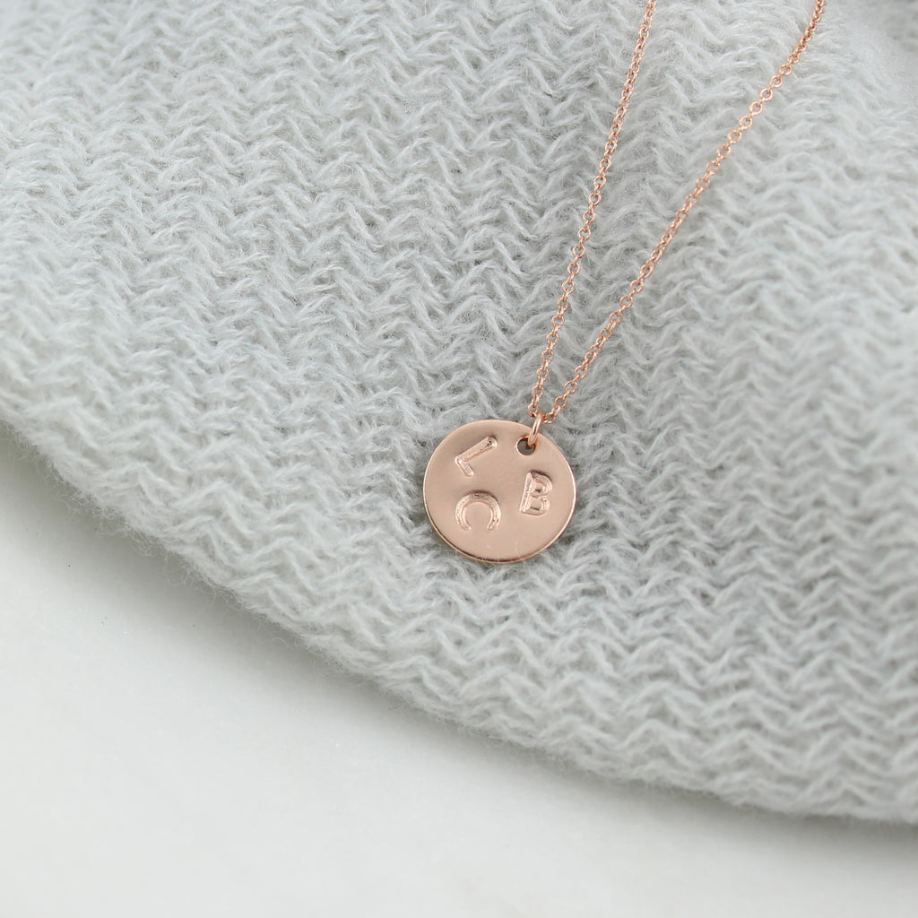 Family Monogram Pendant - Rose Gold Fill