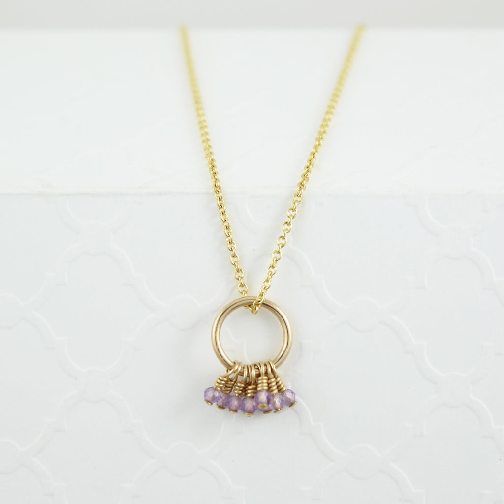Amethyst Fringe Necklace (gold fill) OOAK