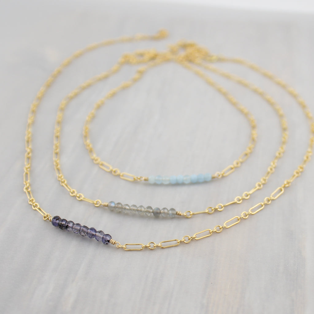 Gemstone Bar Necklace - Gold Fill