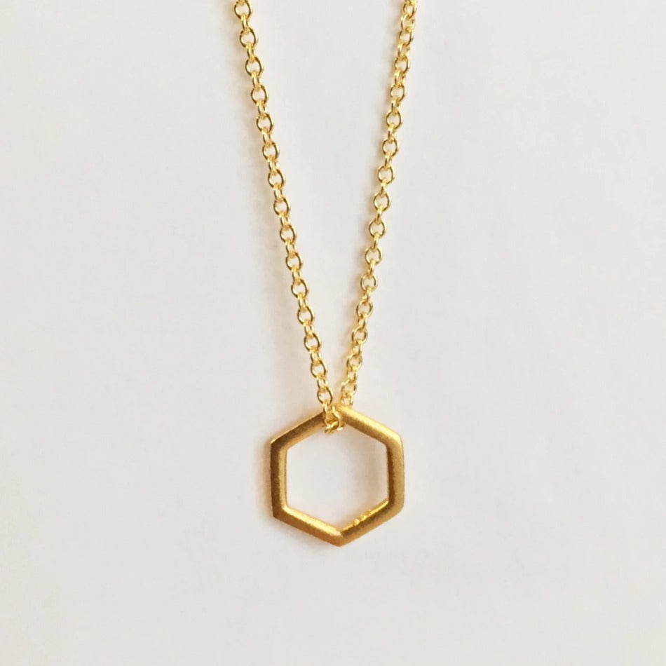 gold fill necklace with small hexagon pendant
