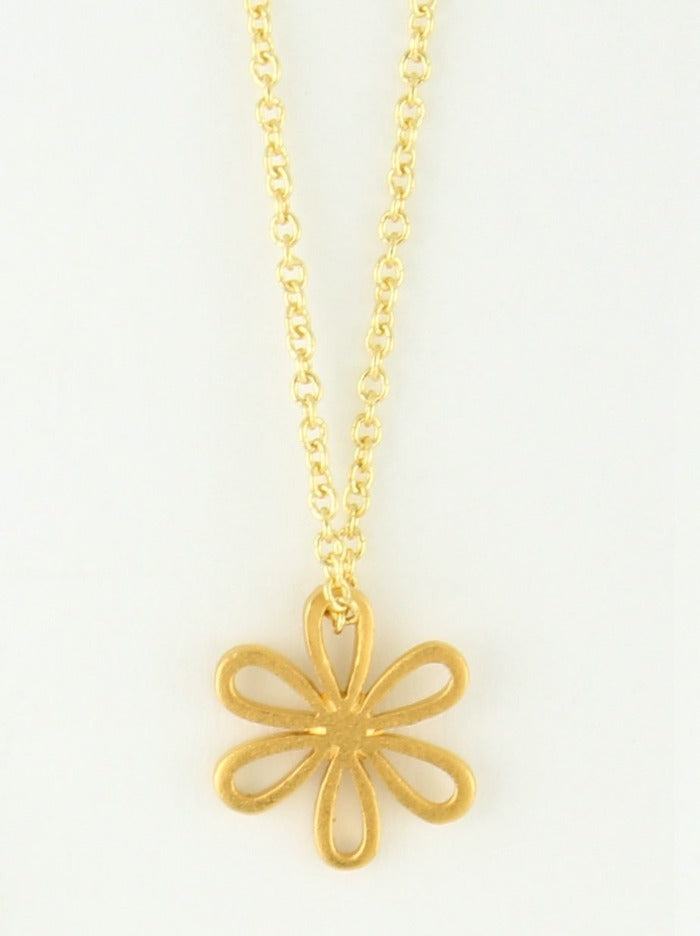gold fill necklace with small flower pendant