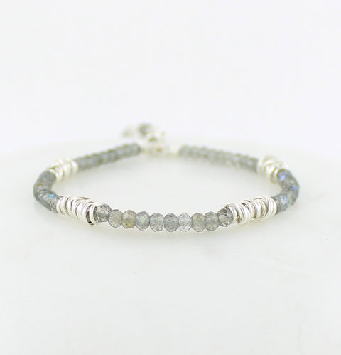 Sterling Silver Twist and Gemstone Stacking Bracelet