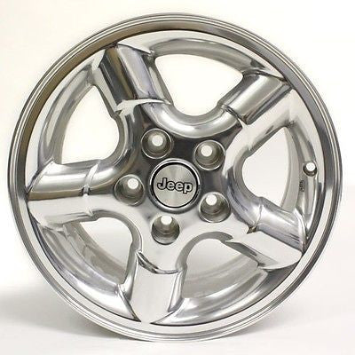 "15"" JEEP WRANGLER 2000 POLISHED WHEELS OEM 9032 15X7"