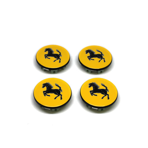 FERRARI WHEEL CENTER CAPS OEM YELLOW GENUINE SET OF 4 NEW