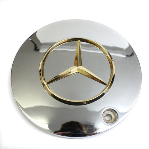 MERCEDES BENZ WHEEL PRO 31 CHROME CENTER CAP GOLD EMBLEM NEW