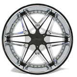 "22"" SPORZA DDT BLACK INSERTS CHROME WHEEL 22X9.5"