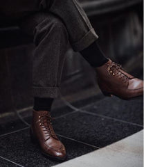 charcoal pants brown shoes