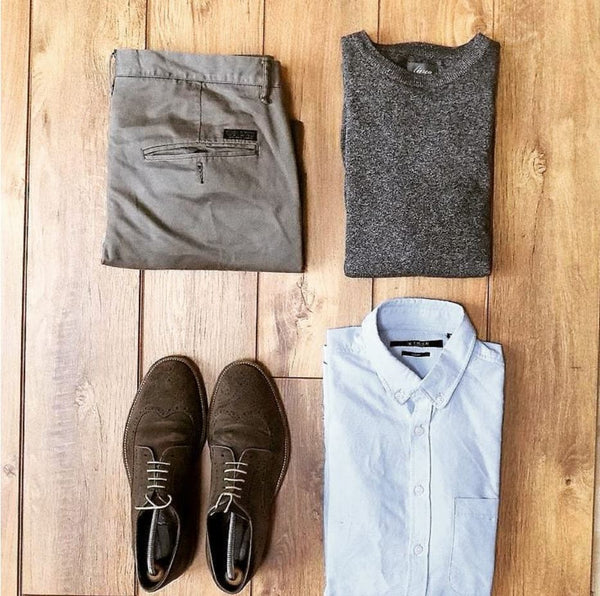 grey shirt brown shoes