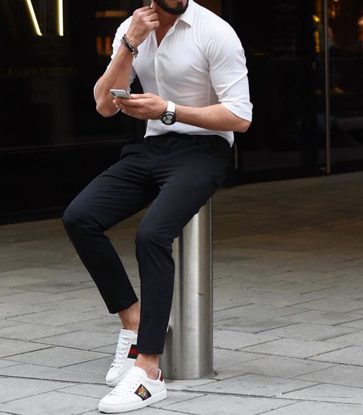 black pants white shoes
