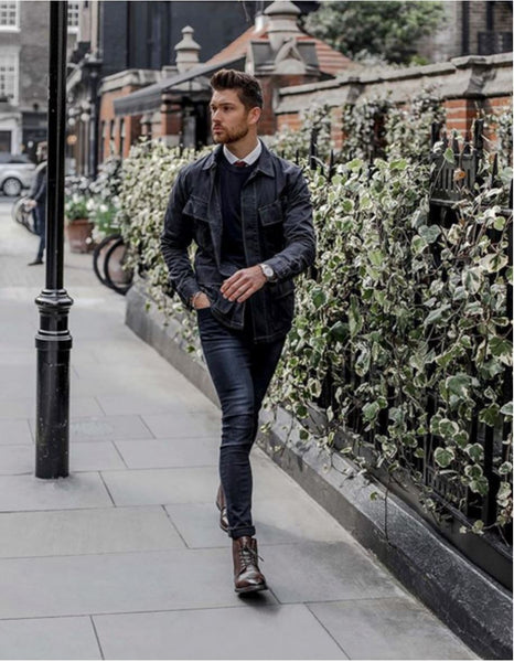 black leather jacket brown shoes