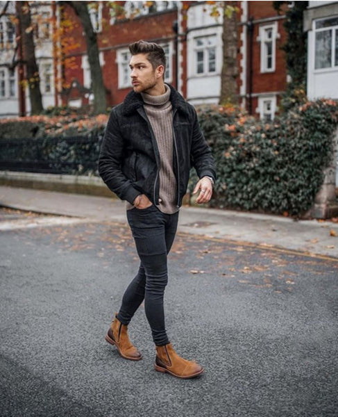 black jacket with brown shoes