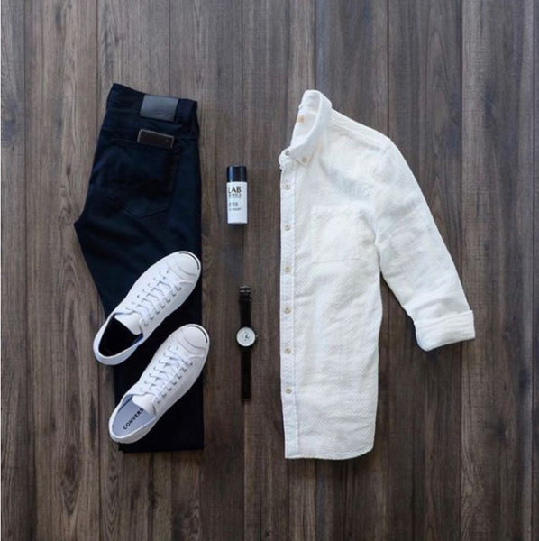 white shoes with black pants