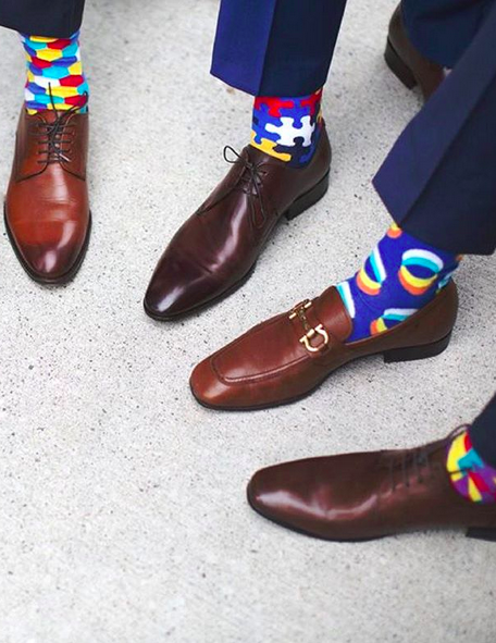 blue suit brown shoes socks
