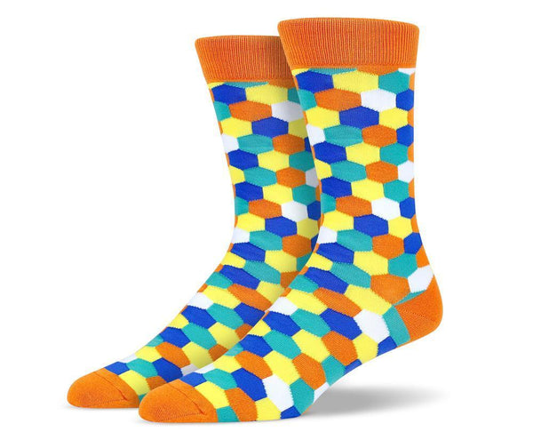 Mens Orange Hexagon Socks