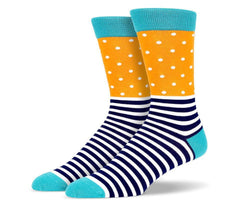 Mens Orange Stripe and Polka Dot Socks