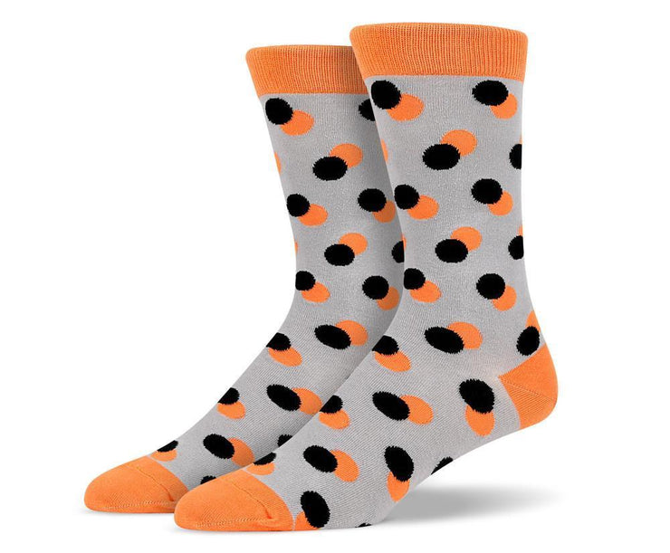 Mens Orange Twin Polka Dot Socks